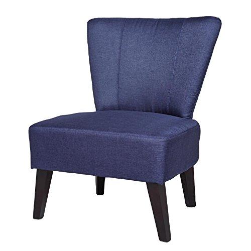 CARO-Möbel Retro Polstersessel Polsterstuhl Alexia, Webstoff in Dunkelblau, mit Holzfüße, Schaumstoffpolsterung und Wellenfedern
