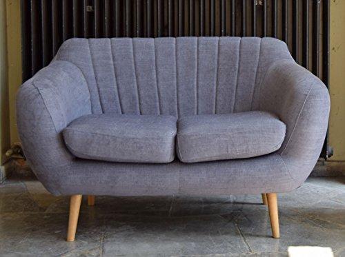 Retro Sofa Azure 2-Sitzer Stoff Graublau