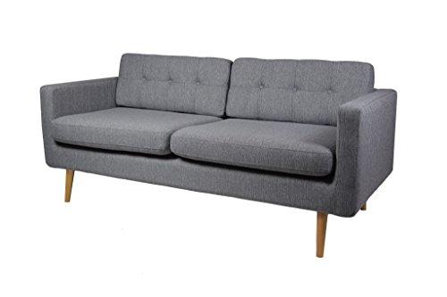Retro Sofa York 3-Sitzer Stoff Manhattan Grau