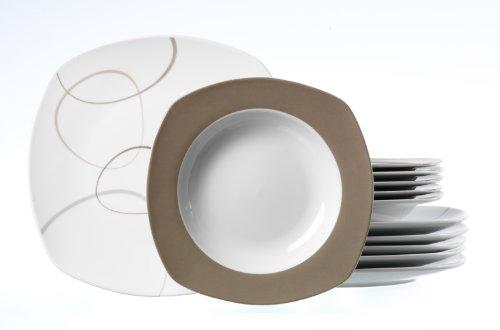 Ritzenhoff & Breker Tafelservice Alina Marron, 12-teilig, Porzellangeschirr