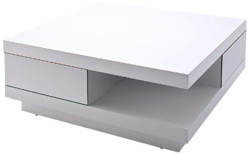 Robas Lund Couchtisch, Wohnzimmertisch, Abby, Hochglanz/weiß, 85 x 85 x 30 cm, 58207WW4