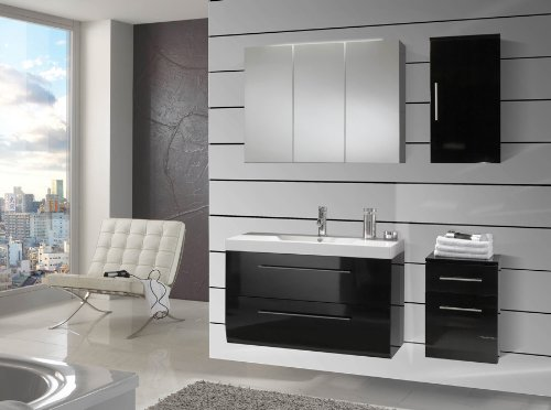 sam badm bel set 4 tlg z rich hochglanz schwarz softclose badezimmerm bel waschplatz 90 cm. Black Bedroom Furniture Sets. Home Design Ideas