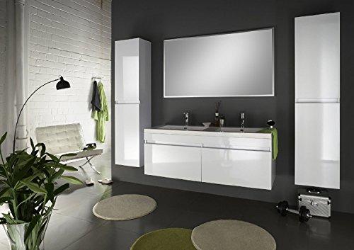 SAM® Badmöbel Set 4tlg Komplettset in Hochglanz weiß, 140 cm breiter Doppel-Waschplatz, Badezimmermöbel bestehend aus 1 x Spiegel, 1 x Doppel-Waschplatz und 2 x Hochschrank [520115]