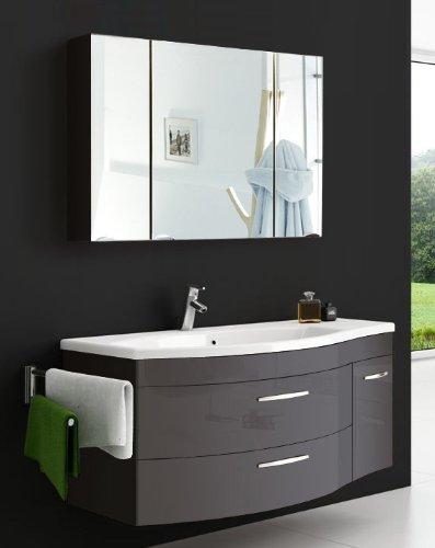 sam badm bel set vena 2tlg 110 cm hochglanz anthrazit mit mineralguss waschbecken. Black Bedroom Furniture Sets. Home Design Ideas