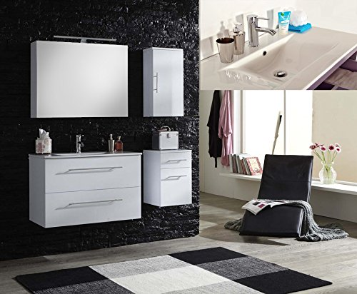 sam badm bel set basel deluxe 4 teilig hochglanz wei 90 cm keramikbecken in wei mit. Black Bedroom Furniture Sets. Home Design Ideas