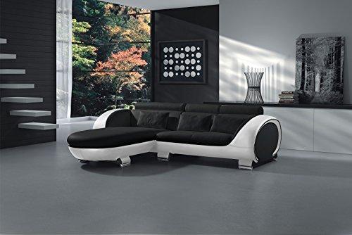 SAM Ecksofa Vigo Combi 1, schwarz / weiß, Couch aus Kunstleder, 181x242 cm links