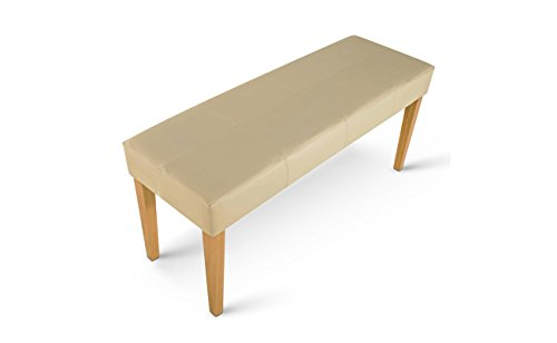 SAM® Esszimmer Design Sitzbank Enzio -3 in creme farben mit buche farbigen Beinen aus Pinienholz Sitzfläche mit Ziernaht angenehme Polsterung 110 cm Länge