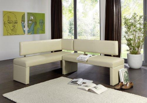SAM® Esszimmer Eckbank 5374-C in creme 195 x 152 cm beidseitig aufbau bar komplett bezogen angenehme Polsterung pflegeleicht