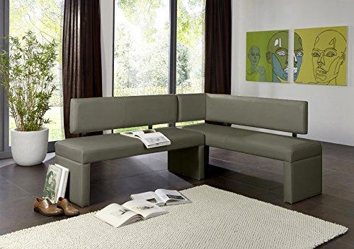 SAM Eckbank Larissa in hellgrau, Rechte Seite 180 cm, Linke Seite 130 cm, Sitzbank mit Rückenlehne aus Samolux®-Bezug, angenehmer Sitzkomfort