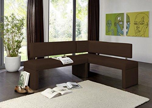 SAM Eckbank Sahra in braun, Rechte Seite 180 cm, Linke Seite 130 cm, Sitzbank mit Rückenlehne aus Samolux®-Bezug, angenehmer Sitzkomfort