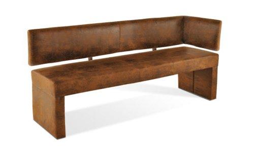 SAM Esszimmer Ottomane Lascarlett, 170 cm, braune Wildlederoptik, Sitzbank mit Rückenlehne aus Samolux®-Bezug, frei im Raum aufstellbare Bank