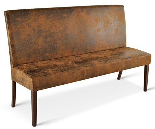 SAM® Esszimmer Sitzbank Salvatore I, 140 cm, in brauner Wildlederoptik, kolonialfarbige Beine, Sitzbank mit Rückenlehne aus Samolux®-Bezug, angenehmer Sitzkomfort, frei im Raum aufstellbare Bank