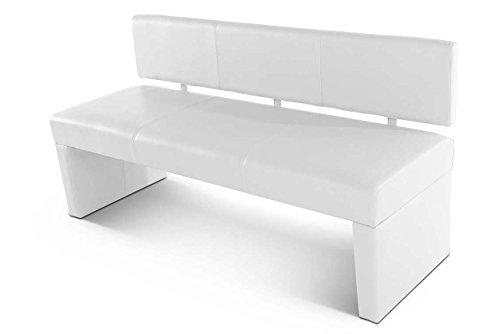 SAM Esszimmer Sitzbank 164 cm Selena in weiss, mit Rückenlehne aus Samolux-Bezug, angenehmer Sitzkomfort
