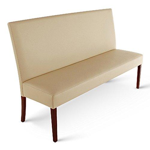 SAM® Esszimmer Sitzbank Verona, 120 cm, in creme mit kolonial-farbenen Beinen, Sitzbank mit Rückenlehne aus Samolux®-Bezug, angenehmer Sitzkomfort, frei im Raum aufstellbare Bank