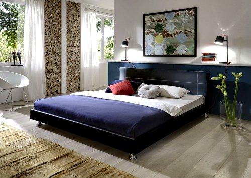 sam polsterbett bett teneriffa in schwarz 140 x 200 cm. Black Bedroom Furniture Sets. Home Design Ideas