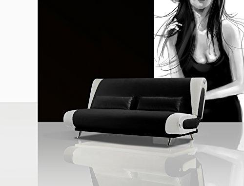 SAM® Schlafsofa Milano schwarz - weiß 200 cm aufklappbar mit Metallfüße