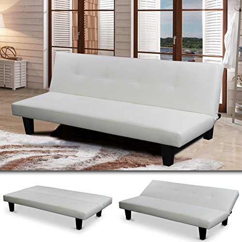 """""""SOFIA"""" SCHLAFSOFA Weiss BETTSOFA SCHLAFCOUCH SOFA BETTCOUCH LOUNGE COUCH (Weiss)"""
