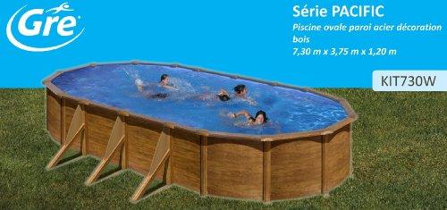 Gre kit730W–Pool Oval 6Verstärkungen seitlichen Dekoration Holz DIM: 730x 375H 120