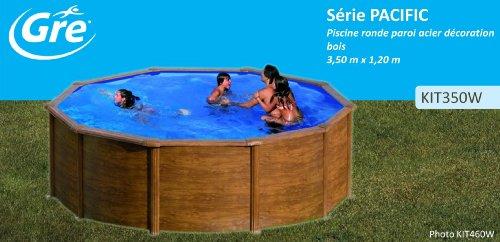 Unbekannt Gre KIT350W–Pool Rund Deko-Holz-Umrandung, Durchmesser Ø 350cm, Höhe