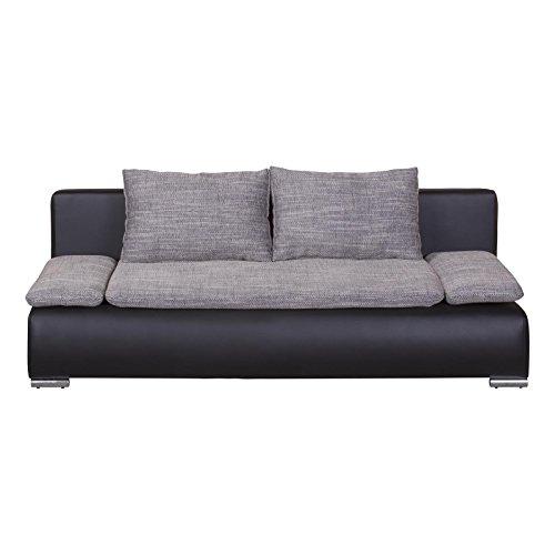CARO-Möbel Schlafcouch Schlafsofa 2-Sitzer Vincent, Schwarz/Grau, mit Bettkasten und Kissen