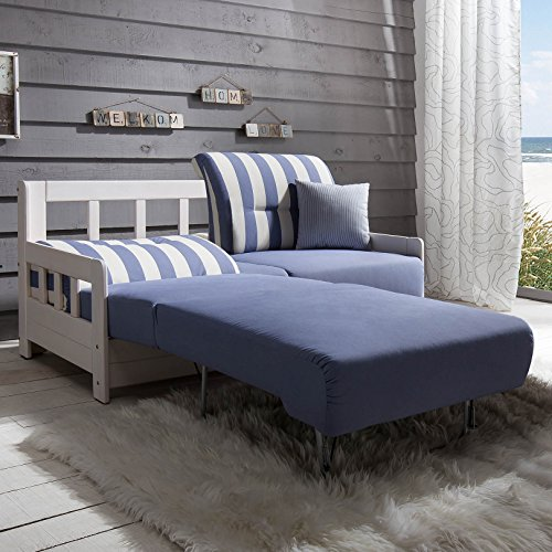 schlafsofa campus blau weiss stoff sofa couch massiv holz. Black Bedroom Furniture Sets. Home Design Ideas
