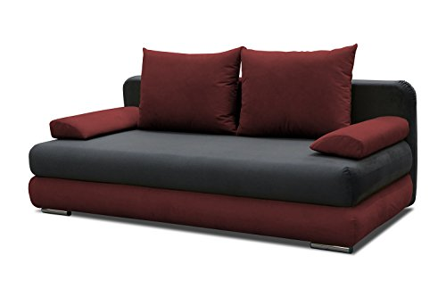 schlafsofa celino in grau rot mit bettfunktion und staukasten abmessungen 205 x 95 cm b x. Black Bedroom Furniture Sets. Home Design Ideas