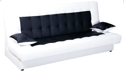 schlafsofa funktionssofa sofa bett incl kissen weiss schwarz mit bettkasten m bel24. Black Bedroom Furniture Sets. Home Design Ideas