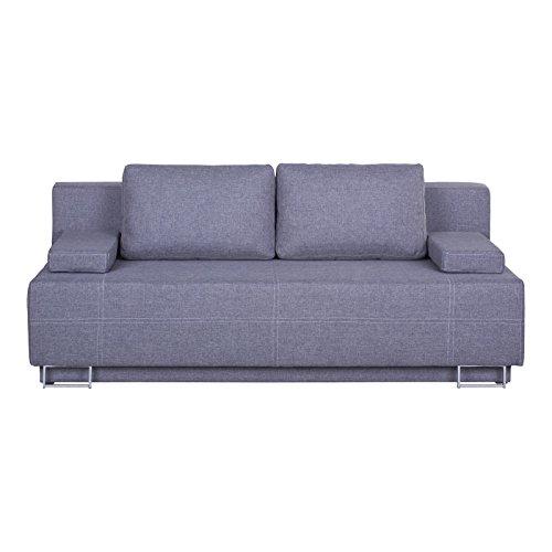 CARO-Möbel Schlafsofa Schlafcouch Luna, Strukturstoff in Grau, Bettkasten und Kissen, Metallfüße