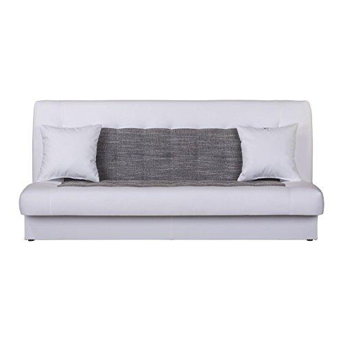 CARO-Möbel Schlafsofa Schlafcouch Stella, in Weiß Grau, 3-Sitzer mit Bettkasten und Kissen