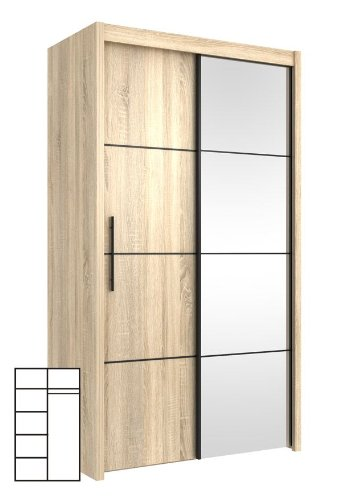 schwebet renschrank kleiderschrank sonoma eiche mit spiegel m bel24. Black Bedroom Furniture Sets. Home Design Ideas