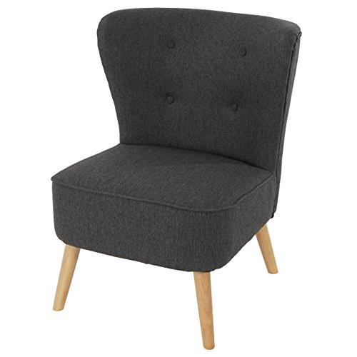 Mendler Sessel Malmö T313, Loungesessel Polstersessel, Retro 50er Jahre Design ~ Anthrazit, Textil