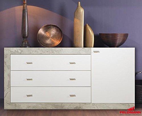 Sideboard Kommode 437435 weiß Hochglanz / beton 150cm