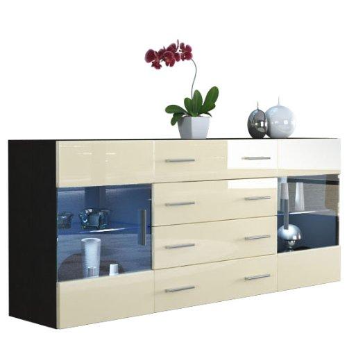sideboard kommode bari v2 in schwarz creme hochglanz 0 m bel24. Black Bedroom Furniture Sets. Home Design Ideas
