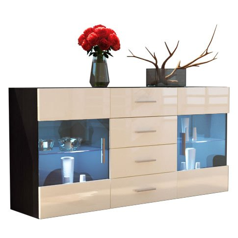 sideboard kommode bari korpus in schwarz matt front in creme hochglanz m bel24. Black Bedroom Furniture Sets. Home Design Ideas