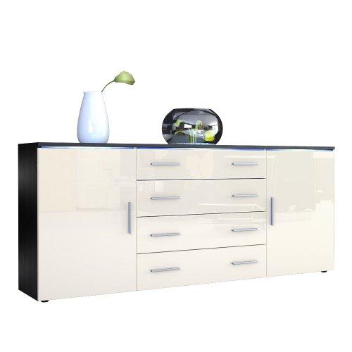 Sideboard kommode faro v2 in schwarz creme hochglanz 0 for Kommode sideboard schwarz