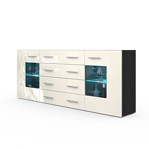 sideboard kommode grmitz v2 in schwarz creme hochglanz 0 m bel24. Black Bedroom Furniture Sets. Home Design Ideas