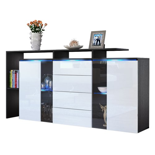 sideboard kommode lissabon korpus in schwarz matt front in wei hochglanz m bel24. Black Bedroom Furniture Sets. Home Design Ideas