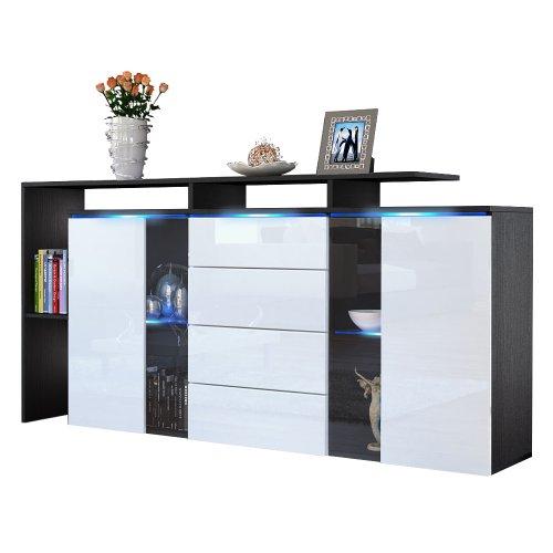 sideboard kommode lissabon korpus in schwarz matt front. Black Bedroom Furniture Sets. Home Design Ideas