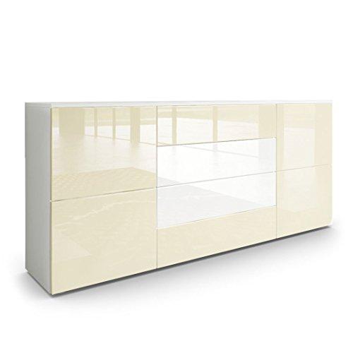 Sideboard Kommode Rova, Korpus in Weiß matt / Fronten in Creme Hochglanz und Weiß Hochglanz