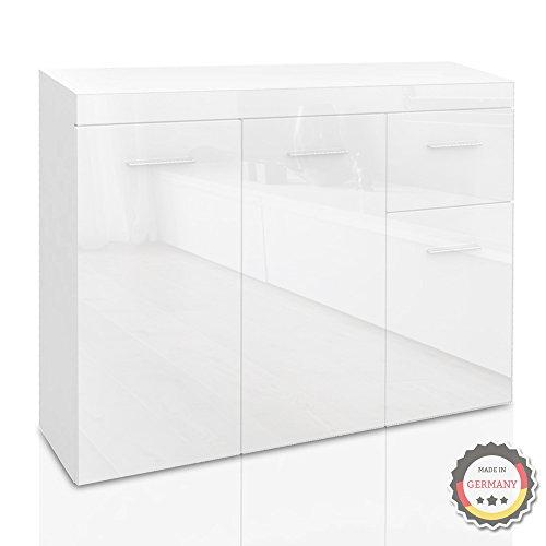 Sideboard Schrank Kommode modern Hochglanz (weiß/weiß) - MÖBEL24