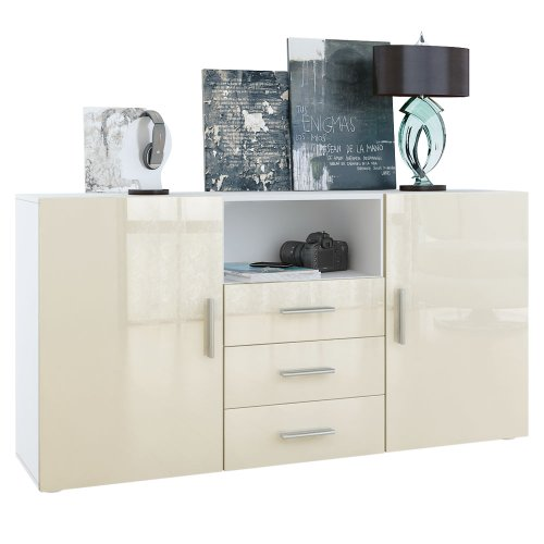 sideboard skadu in wei creme hochglanz 0 m bel24. Black Bedroom Furniture Sets. Home Design Ideas