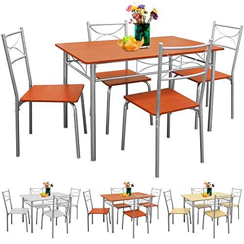 Deuba® Sitzgruppe 5 tlg. Kastanie | für Esszimmer, Küche & Balkon | 4 Stühle & 1 Tisch [ Farbauswahl ] - Tischgruppe Essgruppe Esstischgruppe Balkonmöbel Sitzgruppe
