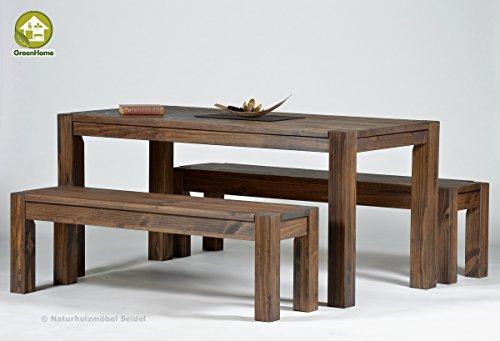 Naturholzmöbel Seidel Sitzgruppe Garnitur mit Esstisch,Rio Bonito, 140x80cm + 2 Bänke 120x38cm Pinie Massivholz, geölt und gewachst, Farbton Cognac braun, Optional: Ansteckplatten verfügbar