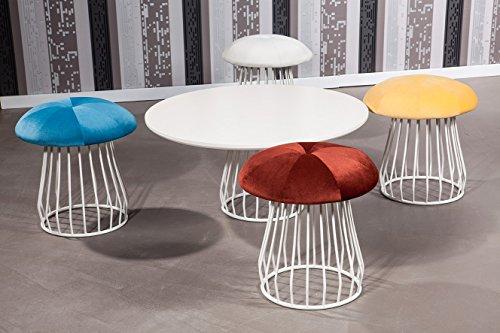 Designer Sitzgruppe MUSHROOM Polsterhocker Sitzhocker SET 4 Hocker + 1 Tisch