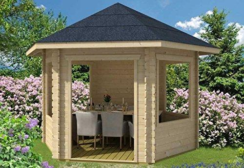 Skan Holz Blockbohlenhaus Madeira 1, 350 x 303 cm Außenmaß (B x T): 350 x 303 cm Dachstand (B x T): 420 x 373 cm Wandstärke: 28 mm umbauter Raum: 21,82 cbm Bauweise: Blockbohlenbauweise Ausführung: naturbelassen