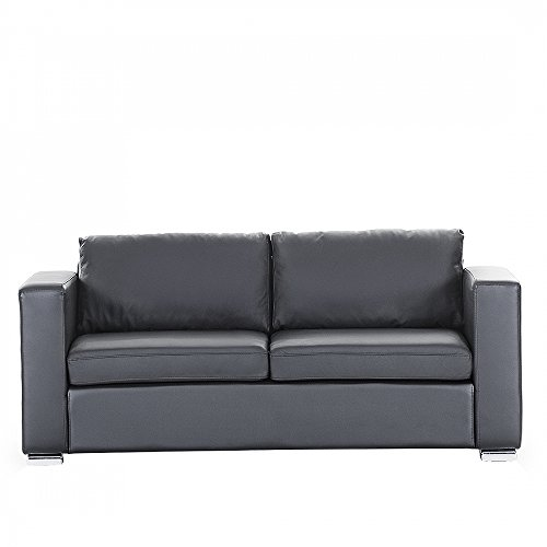 beliani 3 sitzer sofa leder schwarz helsinki m bel24. Black Bedroom Furniture Sets. Home Design Ideas