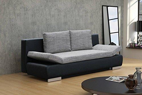 Sofa Leandro in grau / schwarz mit Bettfunktion - Abmessungen: 203 x 95 cm (B x T)