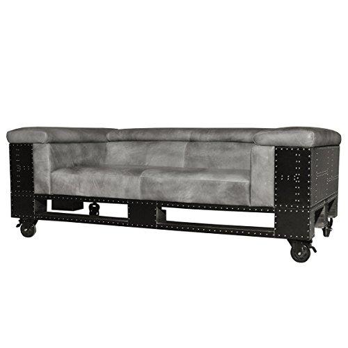 sofa ledersofa prasto 2 sitzer zweisitzer schwarzblech echtleder leder schwarz grau breite. Black Bedroom Furniture Sets. Home Design Ideas