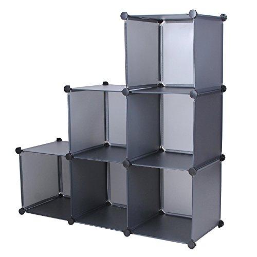 Songmics Regalsystem Raumteiler Stufenregal Standregal Bücherregal Ordnerregal Sideboard Schuhschrank Grau 112 x 112 x 37 cm LPC11G