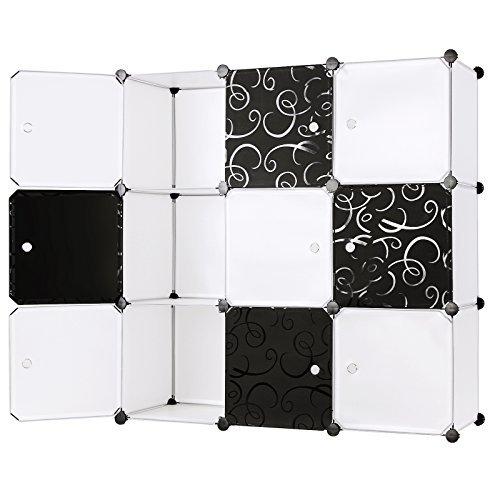 Songmics Regalsystem Aufbewahrung Garderobenschrank Wäscheschrank Steckschrank Kleiderschrank Kapazität Schwarz + Weiß 108 x 108 x 36 cm LPC33W